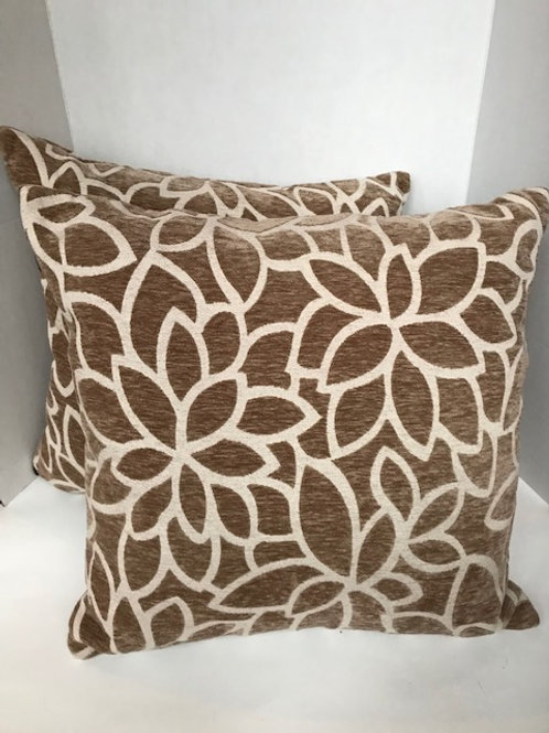 Pier One Brown & White Flowered Pillows