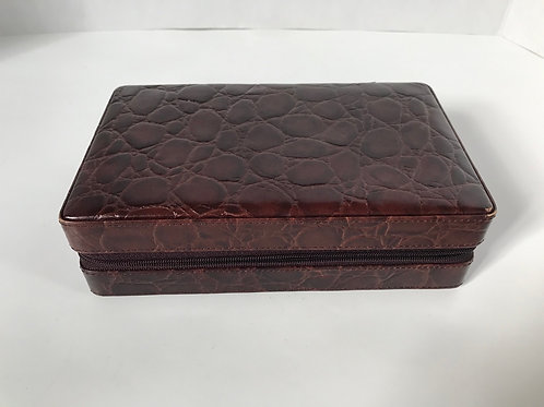 Travel Jewelry Box with Brown Leather