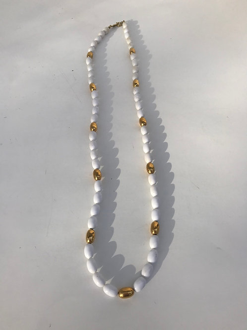 White & Gold Beaded Necklace