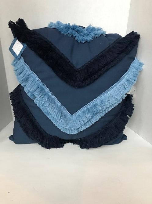 Blue Fringe Pillow
