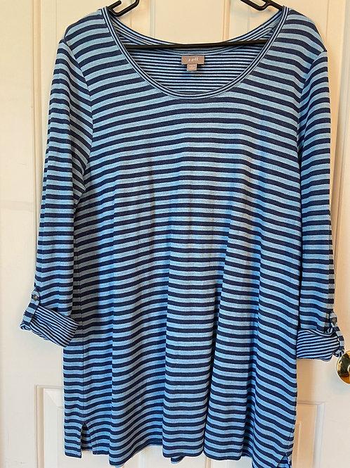 J. Jill Striped Oversized Stretch Shirt