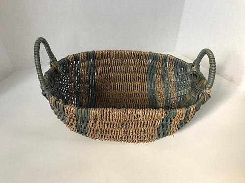 Blue Striped Wicker Bread Basket