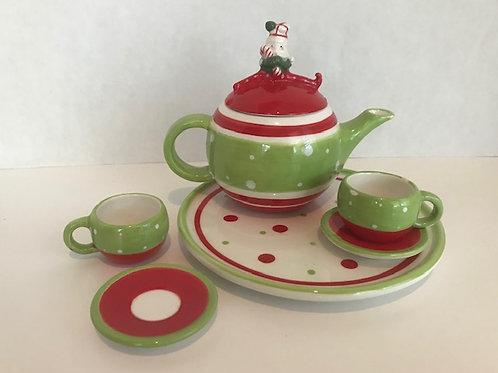 Ceramic Mini Santa Tea Set