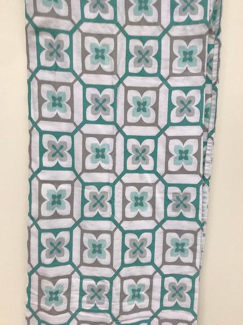 Teal & Grey Flowered Lattice Shower Curtain