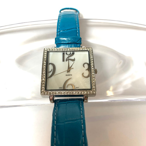 Square Rhinestone Watch with Blue Leather Band