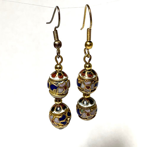 Gold and Multi-colored Stone Earrings