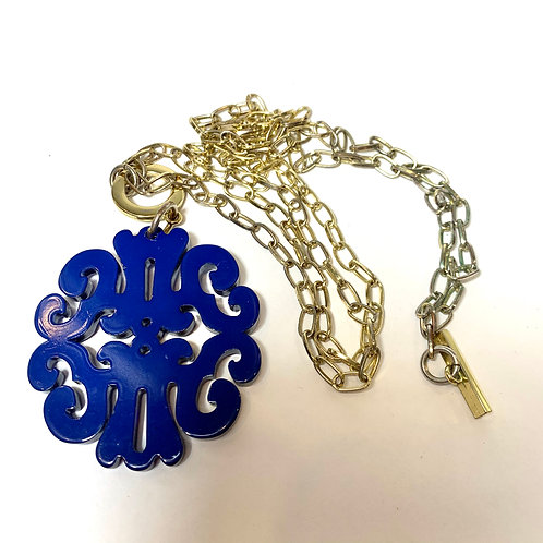 Long Gold Chain Necklace with Blue Pendant