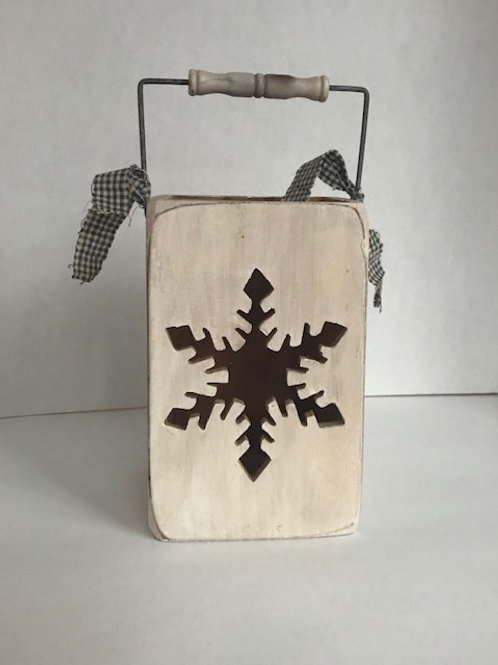 Wooden Snowflake Candle Box