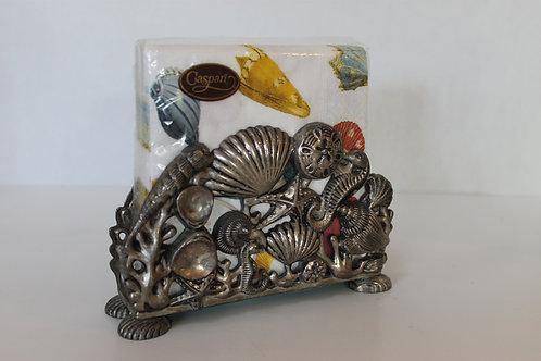 Godinger Silver Ocean Themed Shells & Seahorses Napkin Holder