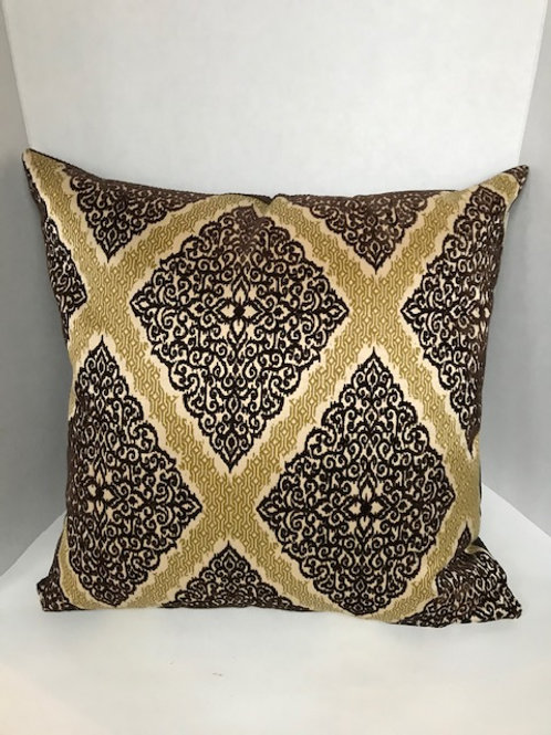 Chocolate Brown & Gold Pattern Pillow