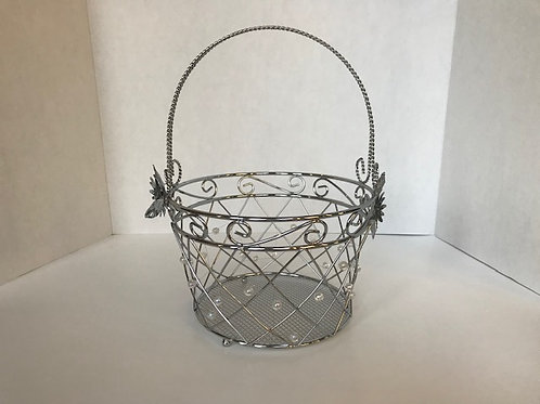 Silver Basket with Pearls & Flowers