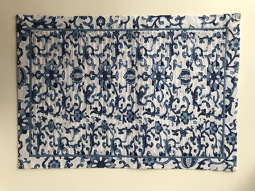 Navy Blue & White Vine Placemats