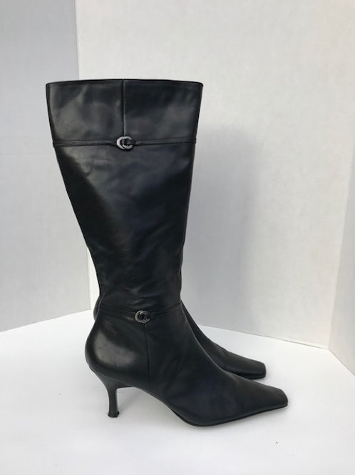 Bandolino Black Leather High Boot with Heel