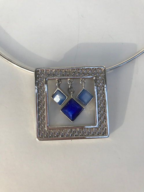 Silver Square with Blue Stones Necklace