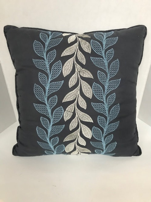 Gray, Blue & White Leaf Vine Pillow