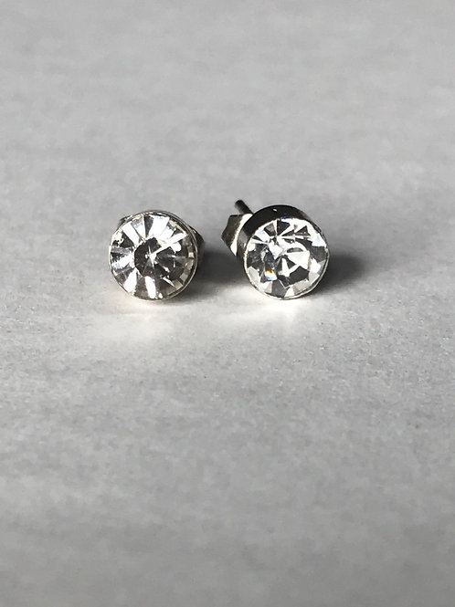 Clear Stone With Round Silver Setting Earrings