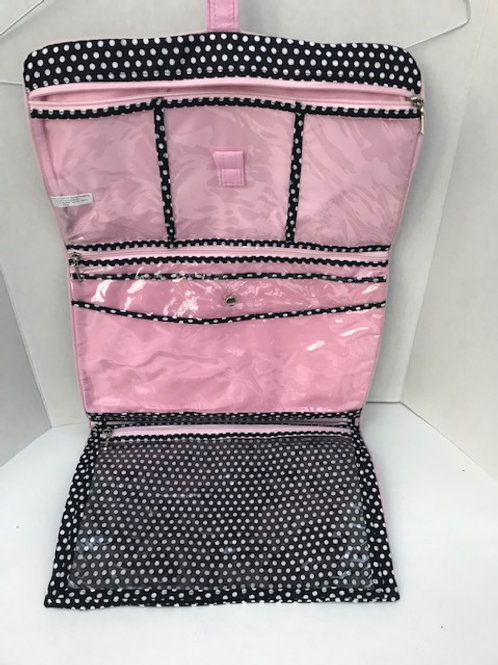 Black & Pink Poka-Dot Travel Toiletry Bag