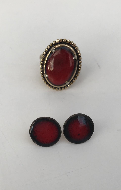 Red Stone Ring & Earrings