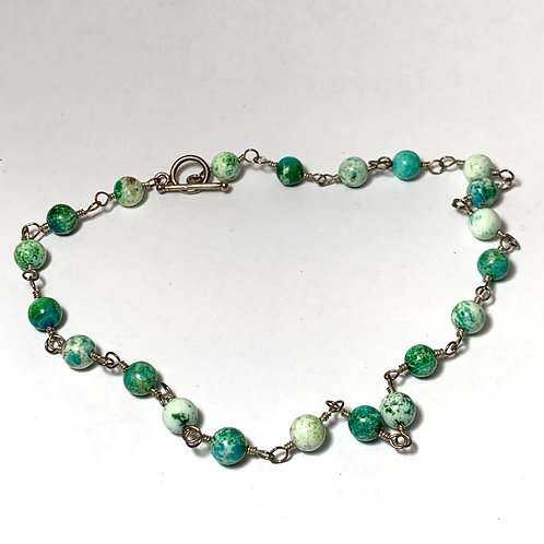 Green & White Marbled Bead Necklace