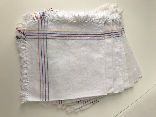 White Cloth Napkins with Colored Edge & Fringe
