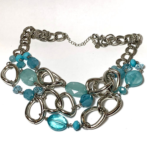 Silver and Turquoise Stone Chain Necklace