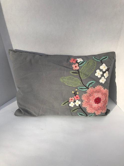Gray & Pink Flowered Pillow