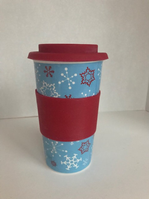 Ceramic Winter Coffee Mug w/ Silicone Grip & Lid