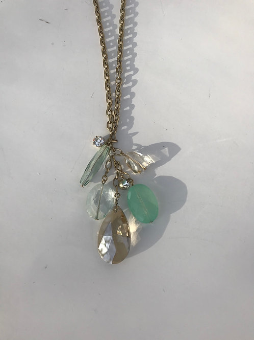 Sea Glass Stones & Beads on Gold Chain