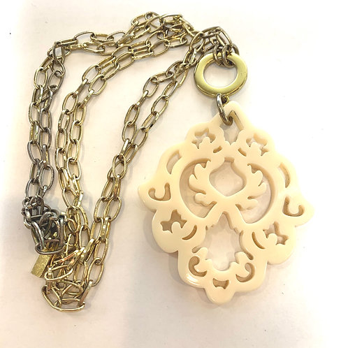 Long Gold Chain Necklace with Cream Pendant