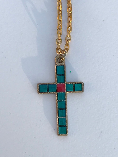 Teal & Pink Cross Necklace