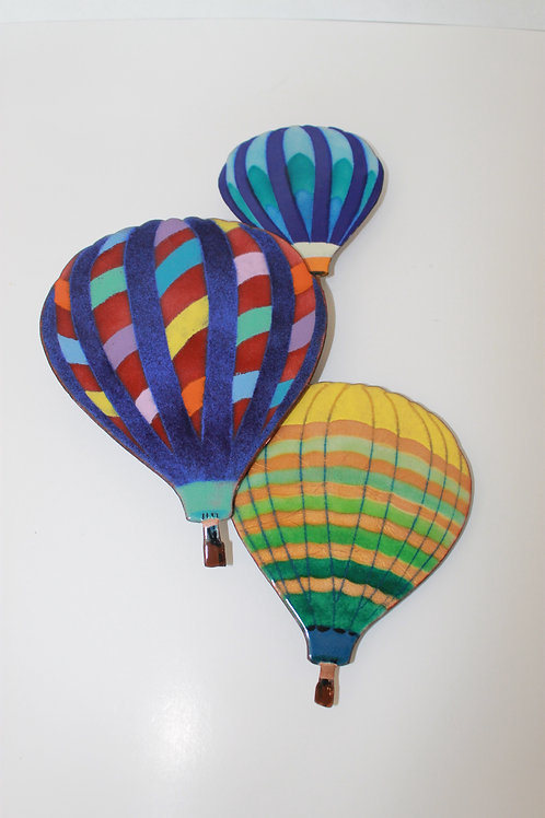 Painted Hot Air Balloon Metal Wall Hanging