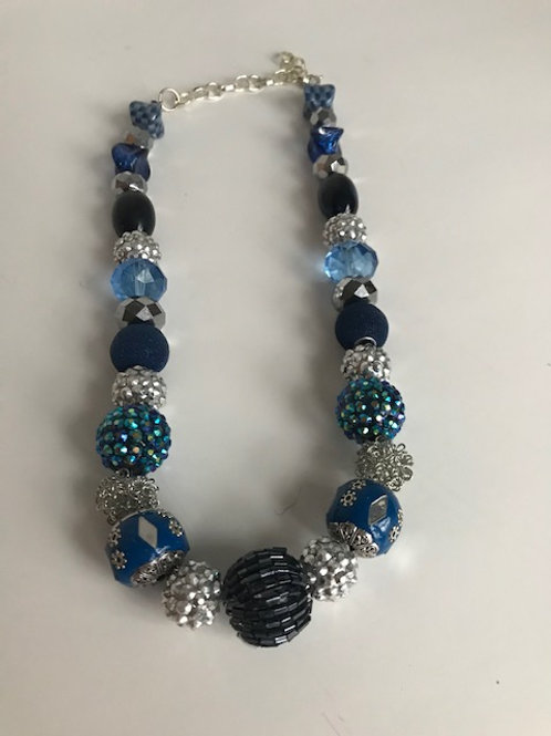 Silver & Blue Beaded Ball Necklace