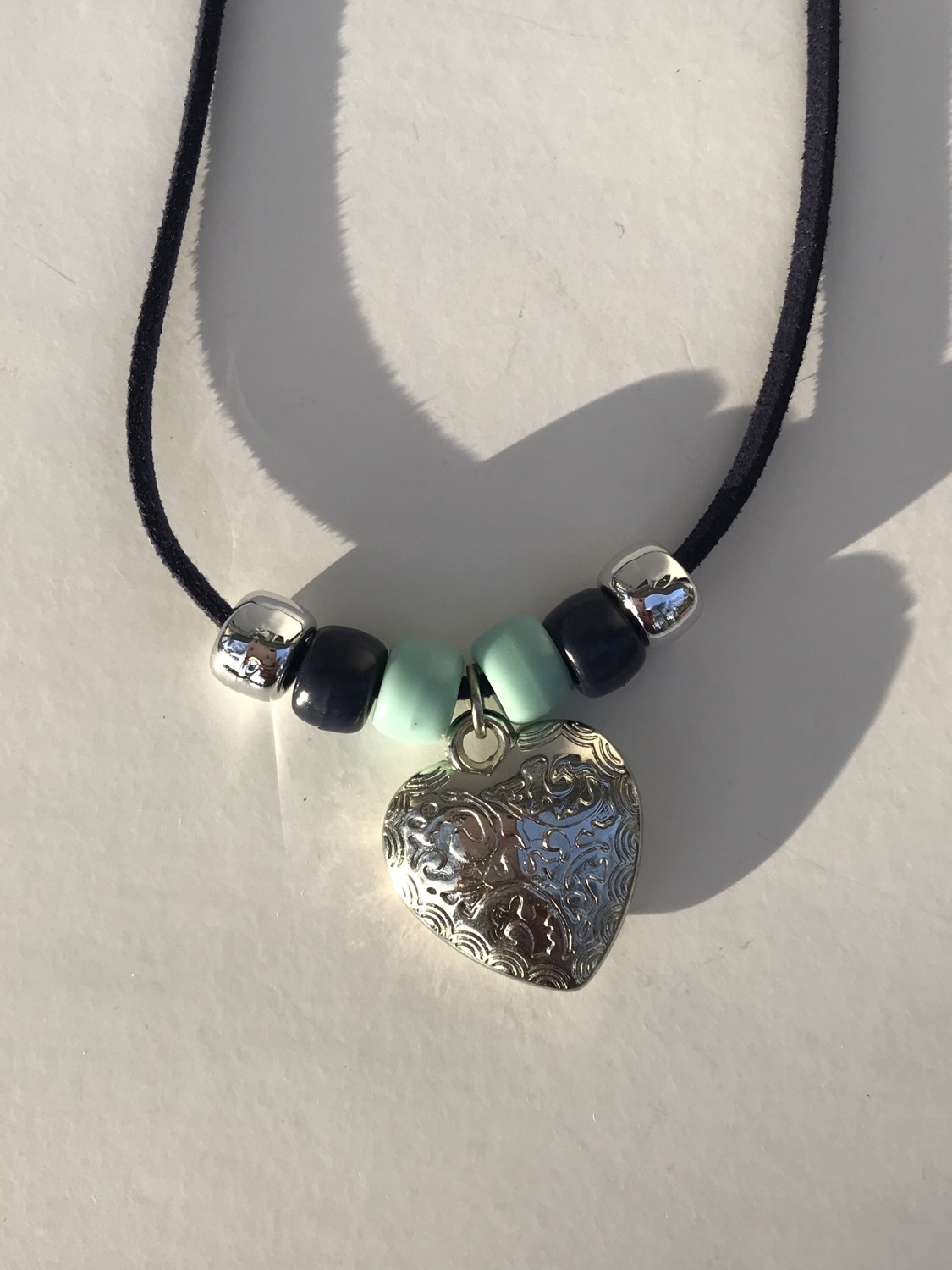 Silver Heart on String Necklace
