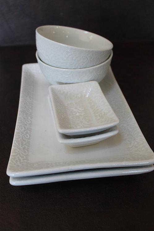 White Ceramic Sushi Set for 2