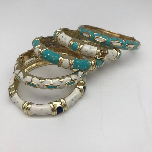 Turquoise, White & Gold Bangles