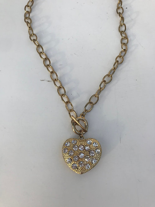 Gold Heart & Chain Necklace