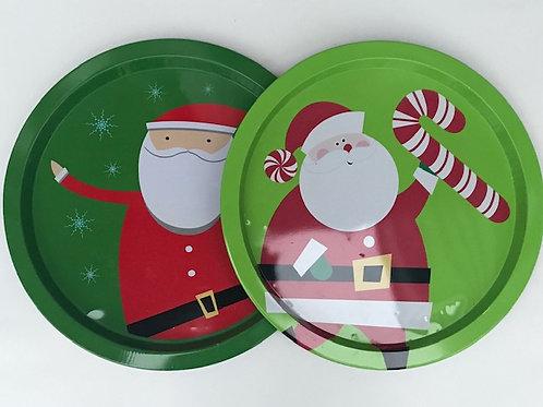 Round Santa Cookie Trays (2)