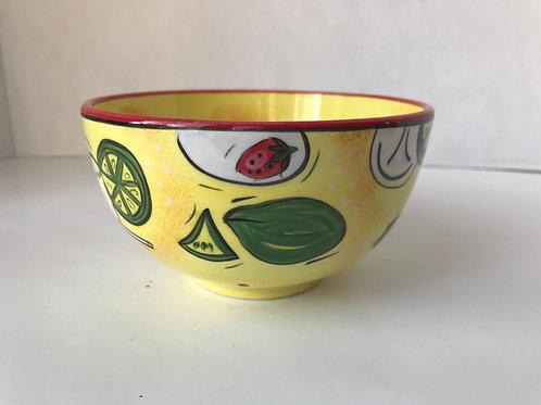 Yellow Ceramic Fruity Bowl