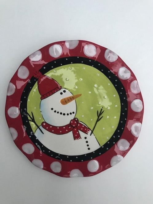 Ceramic Snowman Cookie Plate