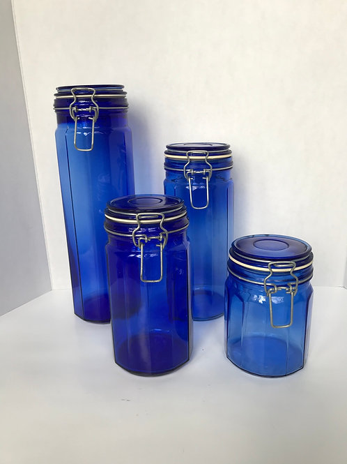 Cobalt Blue Glass Containers (4)
