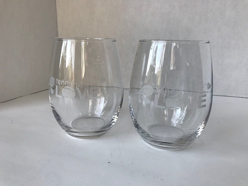 """Tennis Begins With Love"" Wine Glasses"
