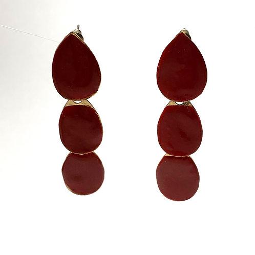 Red Three Stone Drop Earrings
