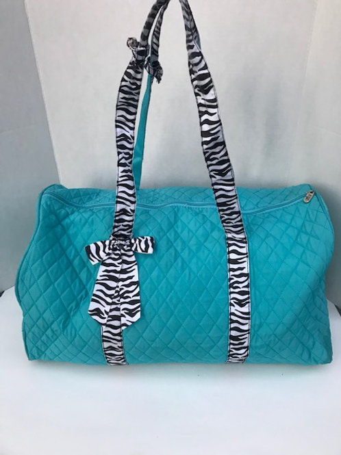 Turquoise & Zebra Quilted Duffel