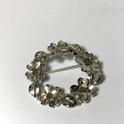 Silver Flowers Pin