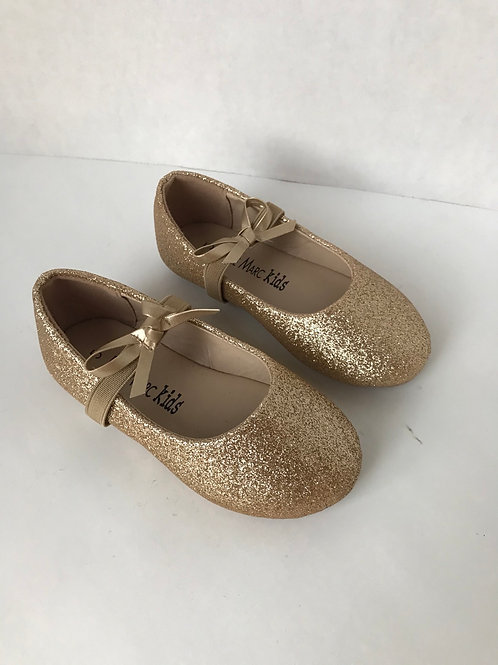 Toddler Gold Sparkle Shoes (Size 5)
