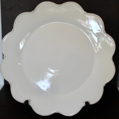 Decorative White Plate with Scalloped Edges