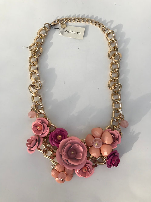 Talbots Pink Roses & Gold Necklace
