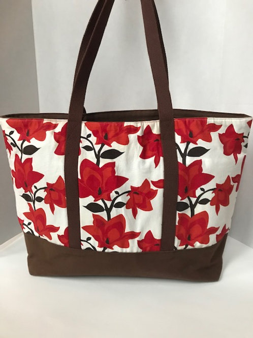 Red Flowered Large Canvas Tote