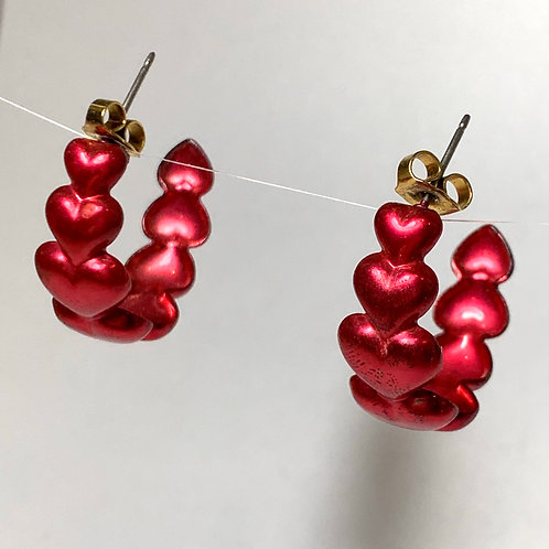 Red Heart Hoop Earrings