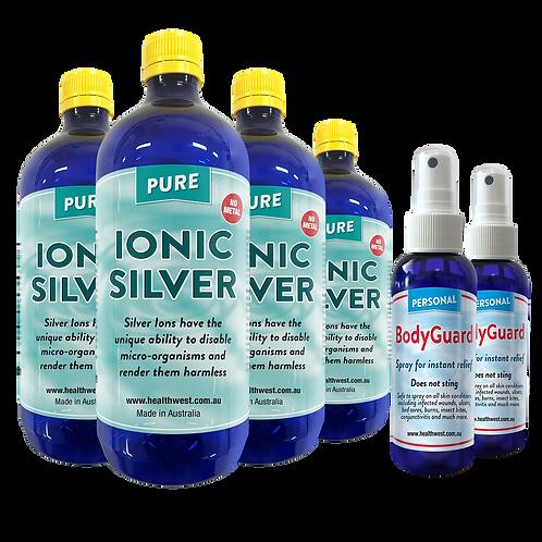 4 Ionic Silver 20 PPM 1 Litre  &  2 Free BodyGuard Spray
